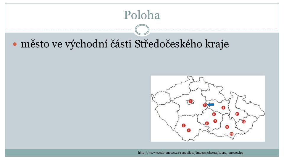 Poloha město ve východní části Středočeského kraje http://www.czech-unesco.cz/repository/images/obecne/mapa_unesco.jpg