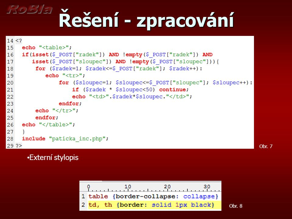 Řešení - zpracování Obr. 7 Externí stylopis Obr. 8