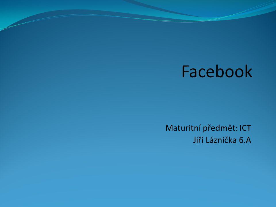Facebook sociální síť sloužící k propojení komunikace, sdílení dat mezi lidmi a zábavě největší sociální síť na světe nejnavštěvovanější sociální síť přes 1,4 miliard uživatelů přeložen do 70 jazyků 5299 zaměstnanců sídlo v Kalifornii http://cdn-1.famouslogos.us/images/facebook-logo.jpg.pagespeed.ce.Tl1kSaKz3Q.jpg
