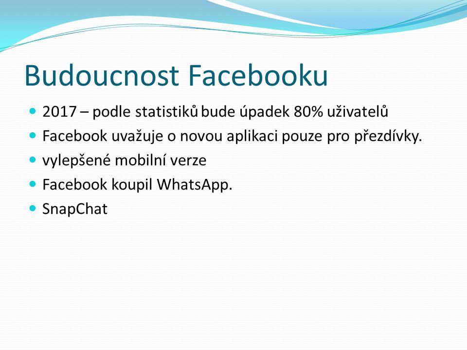 Budoucnost Facebooku 2017 – podle statistiků bude úpadek 80% uživatelů Facebook uvažuje o novou aplikaci pouze pro přezdívky.