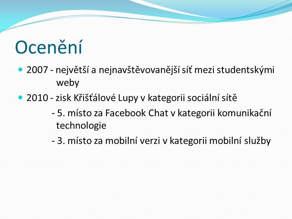 Ocenění 2007 - největší a nejnavštěvovanější síť mezi studentskými weby 2010 - zisk Křišťálové Lupy v kategorii sociální sítě - 5.