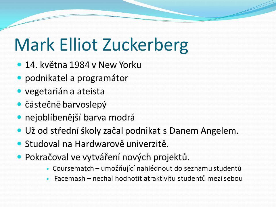 Mark Elliot Zuckerberg 14. května 1984 v New Yorku podnikatel a programátor vegetarián a ateista částečně barvoslepý nejoblíbenější barva modrá Už od