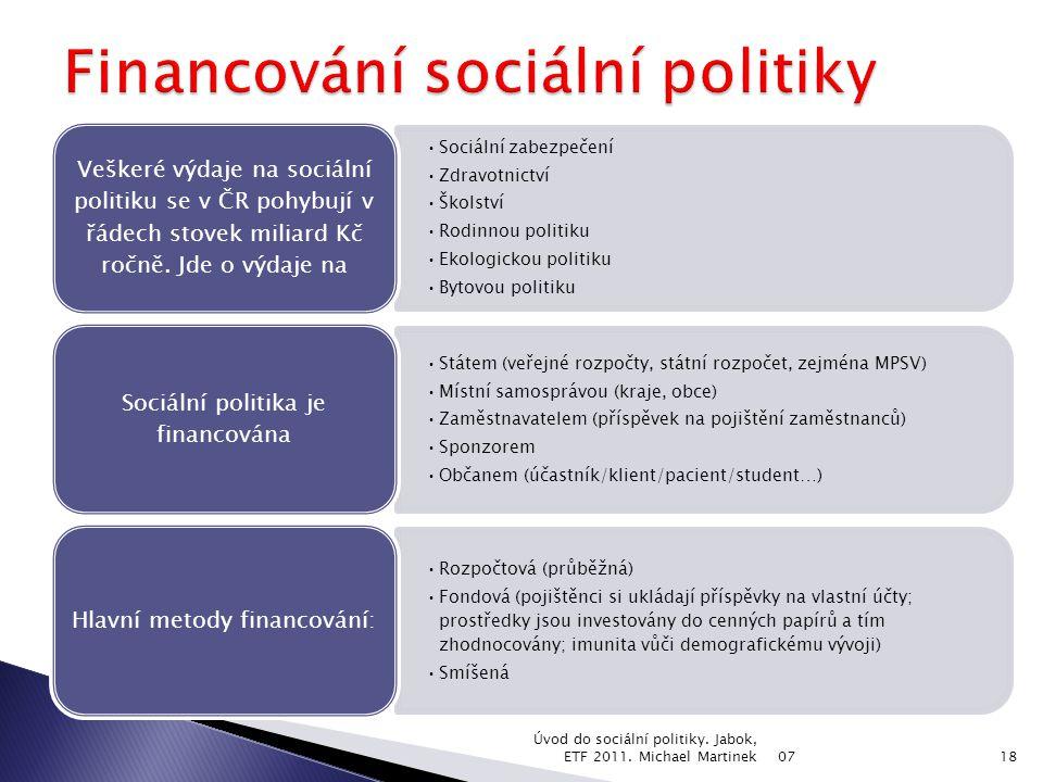 Sociální zabezpečení Zdravotnictví Školství Rodinnou politiku Ekologickou politiku Bytovou politiku Veškeré výdaje na sociální politiku se v ČR pohybují v řádech stovek miliard Kč ročně.