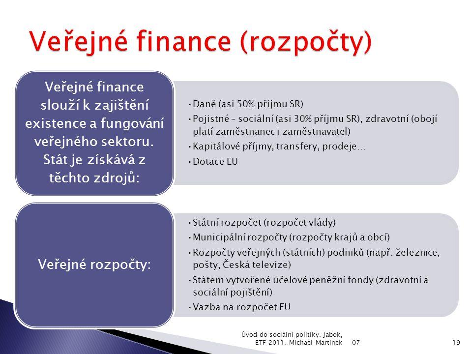 Daně (asi 50% příjmu SR) Pojistné – sociální (asi 30% příjmu SR), zdravotní (obojí platí zaměstnanec i zaměstnavatel) Kapitálové příjmy, transfery, prodeje… Dotace EU Veřejné finance slouží k zajištění existence a fungování veřejného sektoru.