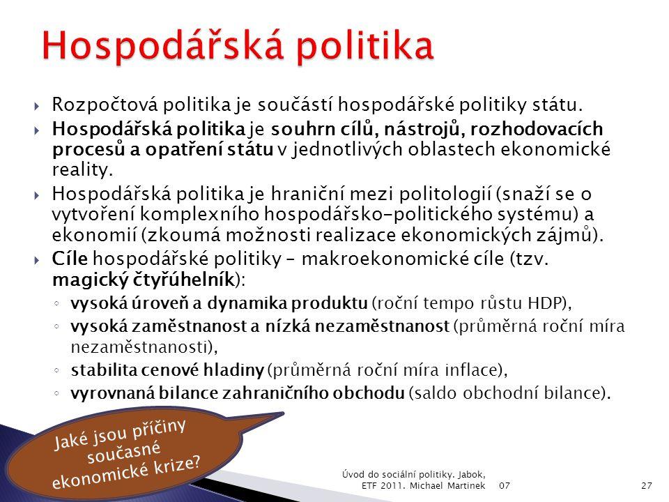  Rozpočtová politika je součástí hospodářské politiky státu.