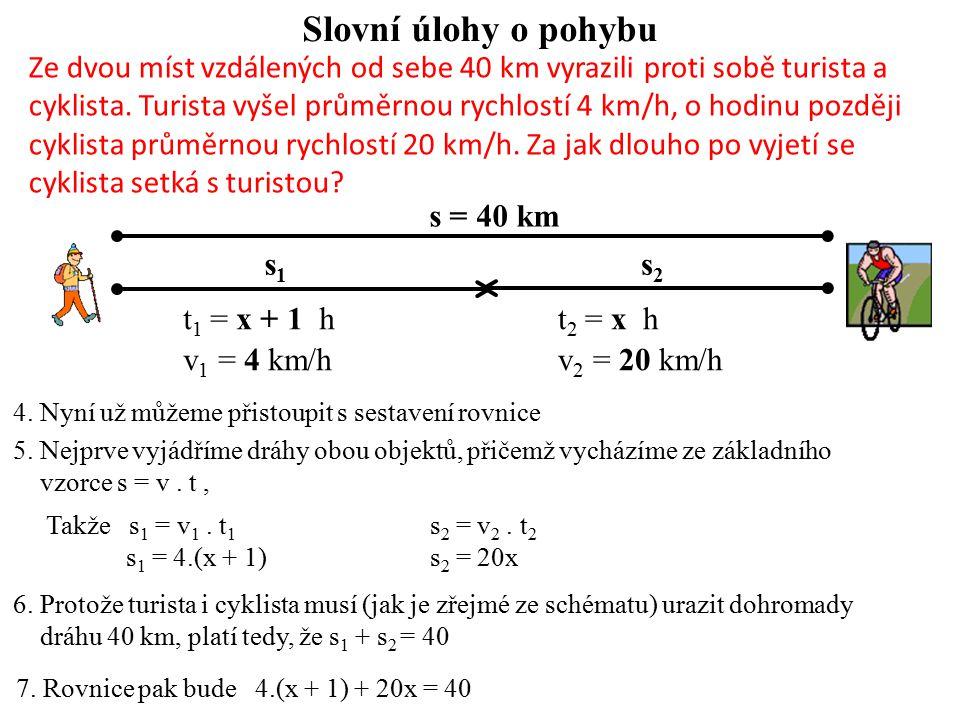 Slovní úlohy o pohybu 5. Nejprve vyjádříme dráhy obou objektů, přičemž vycházíme ze základního vzorce s = v. t, Takže s 1 = v 1. t 1 s 2 = v 2. t 2 s