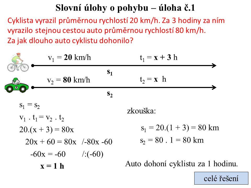 Slovní úlohy o pohybu – úloha č.1 Cyklista vyrazil průměrnou rychlostí 20 km/h.