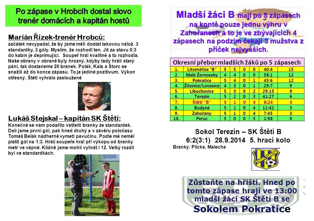 Marián Ř ízek-trenér Hrobc ů : začátek nevypadal, že by jsme měli dostat takovou nálož. 3 standardky, 3 góly. Myslím, že rozhodl ten. Jít za stavu 0:3