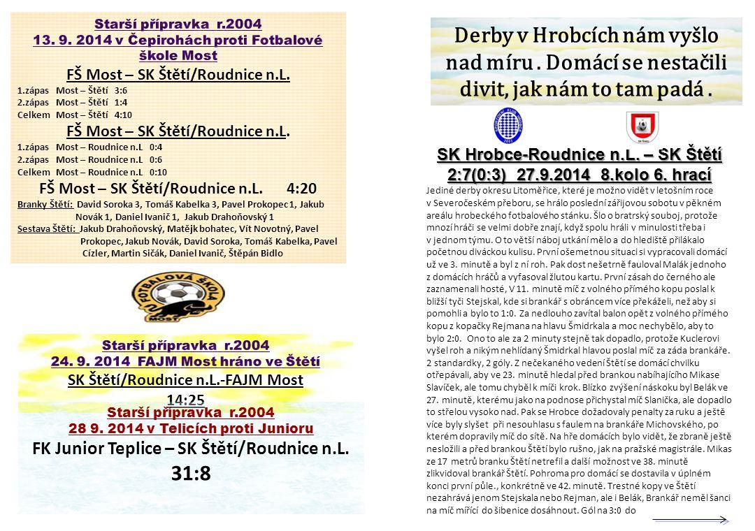 SK Hrobce-Roudnice n.L. – SK Štětí 2:7(0:3) 27.9.2014 8.kolo 6. hrací Jediné derby okresu Litoměřice, které je možno vidět v letošním roce v Severočes