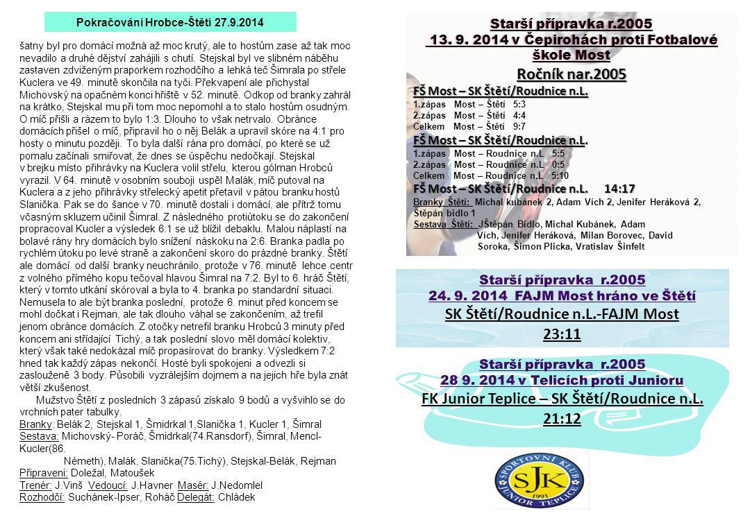 Starší přípravka r.2005Starší přípravka r.2005 13. 9. 2014 v Čepirohách proti Fotbalové škole Most 13. 9. 2014 v Čepirohách proti Fotbalové škole Most
