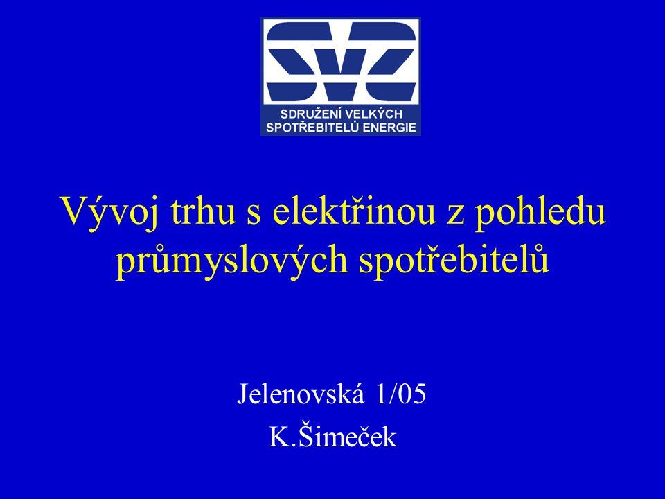 Vývoj trhu s elektřinou z pohledu průmyslových spotřebitelů Jelenovská 1/05 K.Šimeček