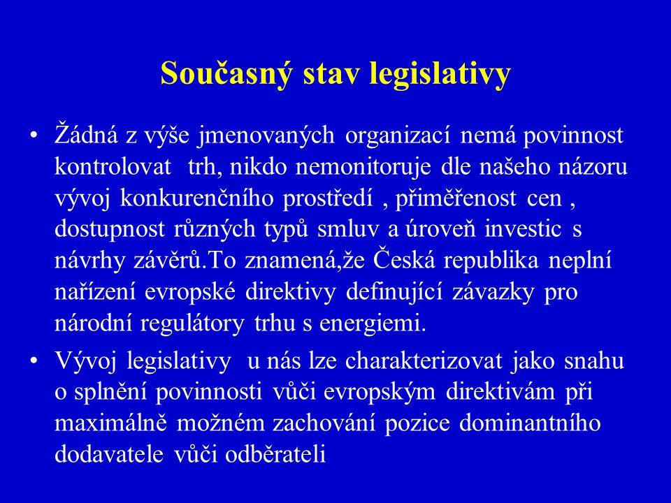 Současný stav legislativy Žádná z výše jmenovaných organizací nemá povinnost kontrolovat trh, nikdo nemonitoruje dle našeho názoru vývoj konkurenčního prostředí, přiměřenost cen, dostupnost různých typů smluv a úroveň investic s návrhy závěrů.To znamená,že Česká republika neplní nařízení evropské direktivy definující závazky pro národní regulátory trhu s energiemi.