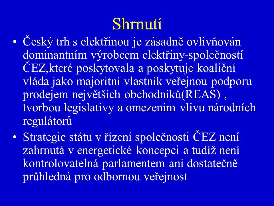 Shrnutí Český trh s elektřinou je zásadně ovlivňován dominantním výrobcem elektřiny-společností ČEZ,které poskytovala a poskytuje koaliční vláda jako majoritní vlastník veřejnou podporu prodejem největších obchodníků(REAS), tvorbou legislativy a omezením vlivu národních regulátorů Strategie státu v řízení společnosti ČEZ není zahrnutá v energetické koncepci a tudíž není kontrolovatelná parlamentem ani dostatečně průhledná pro odbornou veřejnost