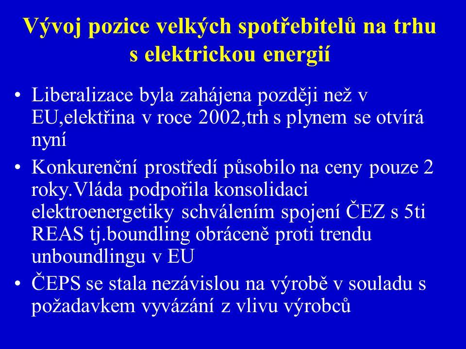 Vývoj pozice velkých spotřebitelů na trhu s elektrickou energií Liberalizace byla zahájena později než v EU,elektřina v roce 2002,trh s plynem se otvírá nyní Konkurenční prostředí působilo na ceny pouze 2 roky.Vláda podpořila konsolidaci elektroenergetiky schválením spojení ČEZ s 5ti REAS tj.boundling obráceně proti trendu unboundlingu v EU ČEPS se stala nezávislou na výrobě v souladu s požadavkem vyvázání z vlivu výrobců