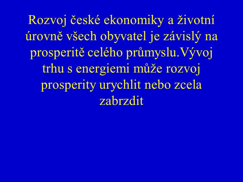 Rozvoj české ekonomiky a životní úrovně všech obyvatel je závislý na prosperitě celého průmyslu.Vývoj trhu s energiemi může rozvoj prosperity urychlit nebo zcela zabrzdit