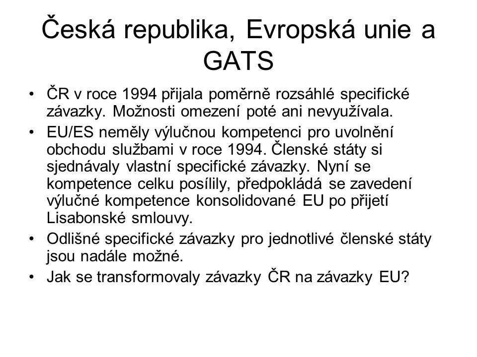 Česká republika, Evropská unie a GATS ČR v roce 1994 přijala poměrně rozsáhlé specifické závazky. Možnosti omezení poté ani nevyužívala. EU/ES neměly