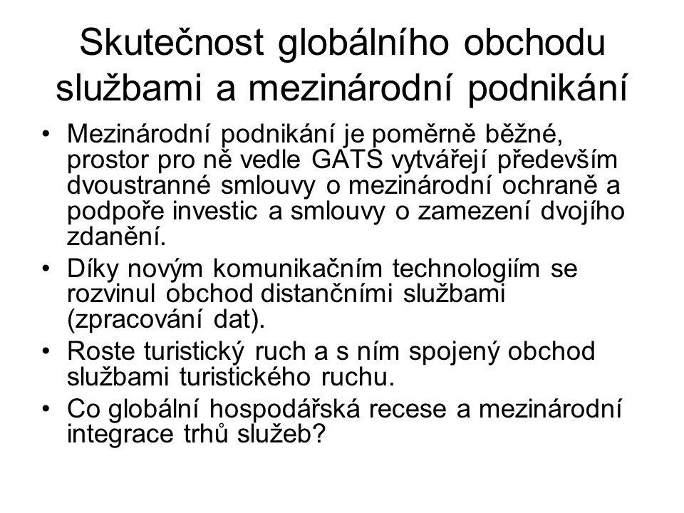 Skutečnost globálního obchodu službami a mezinárodní podnikání Mezinárodní podnikání je poměrně běžné, prostor pro ně vedle GATS vytvářejí především d