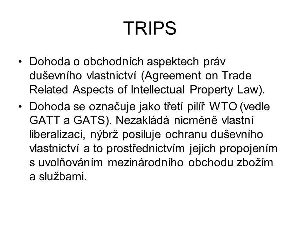 TRIPS Dohoda o obchodních aspektech práv duševního vlastnictví (Agreement on Trade Related Aspects of Intellectual Property Law). Dohoda se označuje j