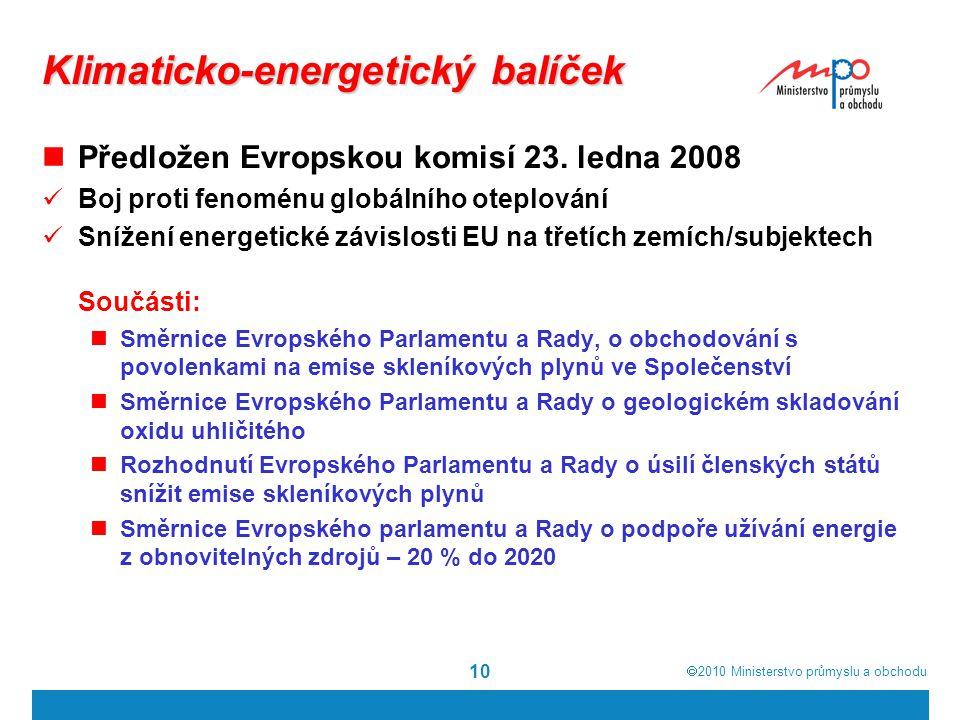  2010  Ministerstvo průmyslu a obchodu 10 Klimaticko-energetický balíček Předložen Evropskou komisí 23. ledna 2008 Boj proti fenoménu globálního ot
