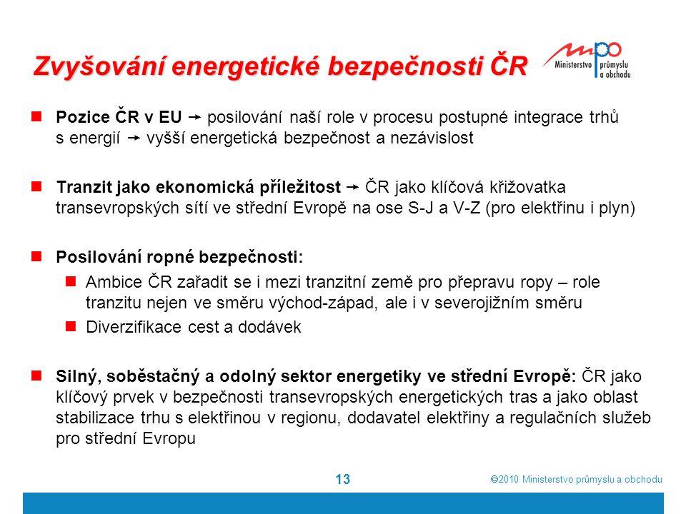  2010  Ministerstvo průmyslu a obchodu 13 Zvyšování energetické bezpečnosti ČR Pozice ČR v EU  posilování naší role v procesu postupné integrace t