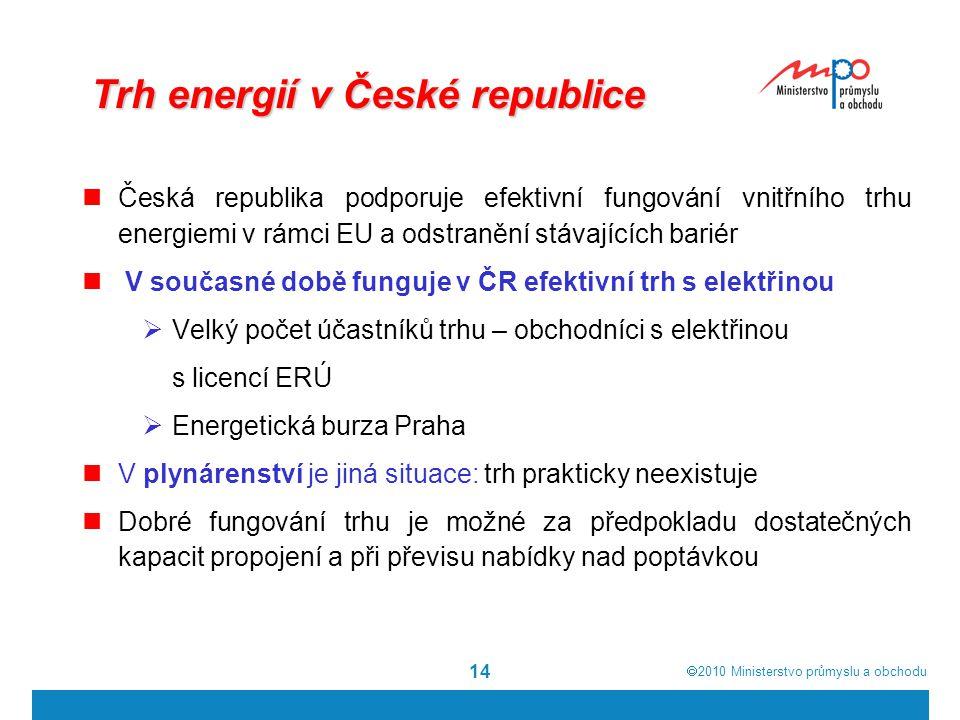  2010  Ministerstvo průmyslu a obchodu 14 Trh energií v České republice Česká republika podporuje efektivní fungování vnitřního trhu energiemi v rá