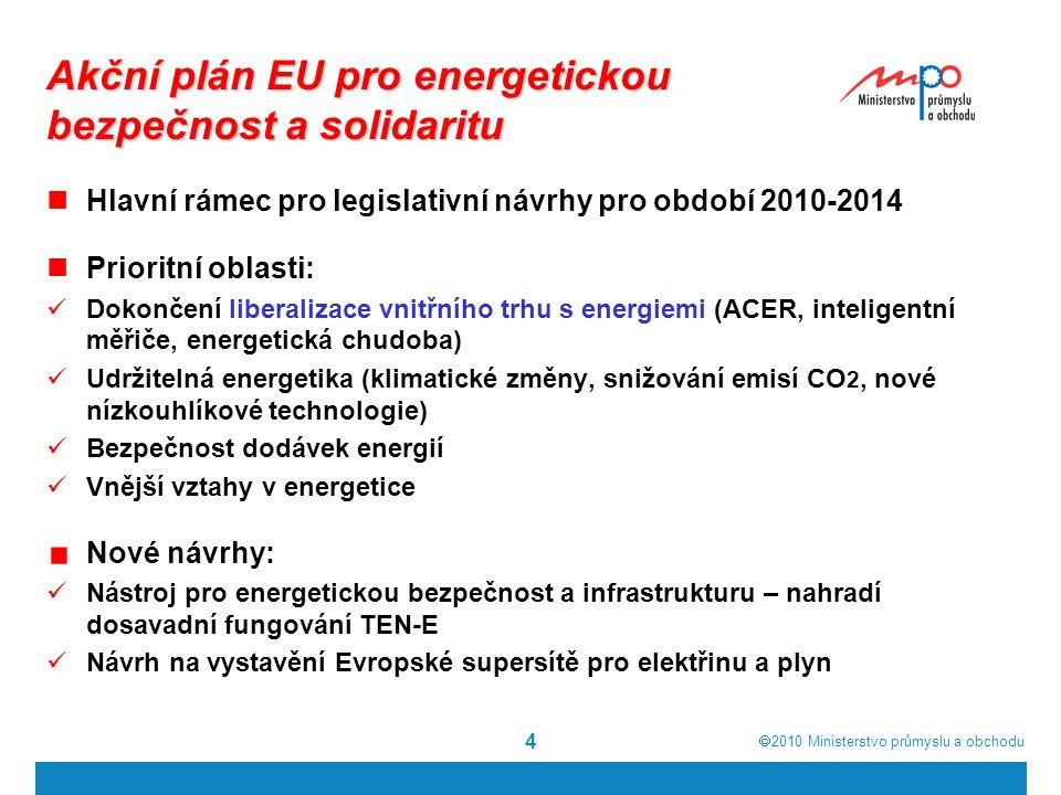  2010  Ministerstvo průmyslu a obchodu 5 Energetická bezpečnost v EU Posílení infrastruktury a propojení mezi jednotlivými ČS a třetími zeměmi Princip solidarity Ustavení krizových mechanismů Legislativní návrhy Návrh nařízení Evropského parlamentu a Rady o opatřeních na zabezpečení dodávek zemního plynu Nařízení Rady o povinnosti informovat Komisi o investičních projektech do energetické infrastruktury v rámci Evropského společenství a o zrušení nařízení (ES) č.