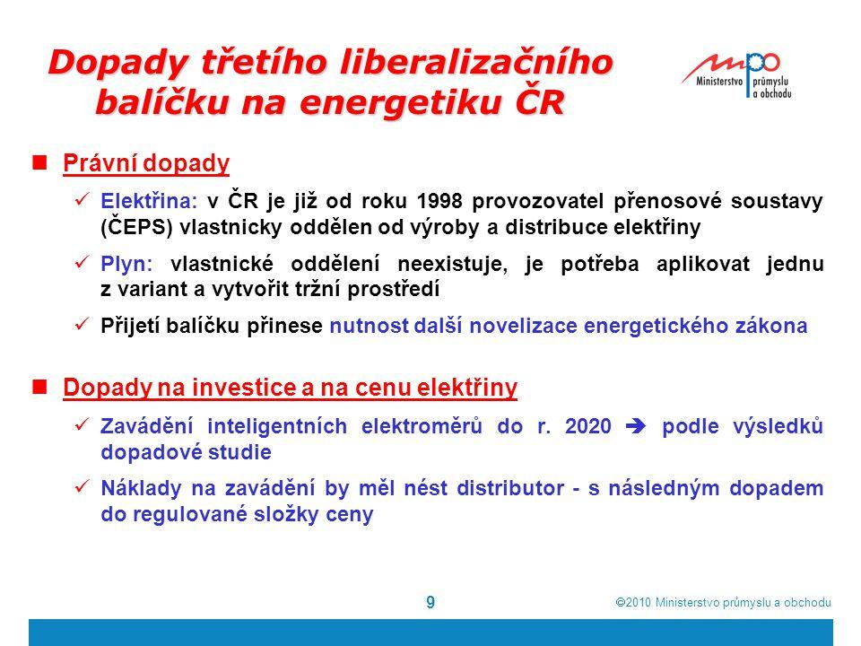  2010  Ministerstvo průmyslu a obchodu 9 Dopady třetího liberalizačního balíčku na energetiku ČR Právní dopady Elektřina: v ČR je již od roku 1998
