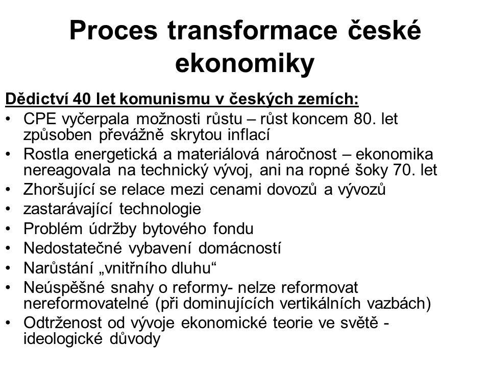 Proces transformace české ekonomiky Dědictví 40 let komunismu v českých zemích: CPE vyčerpala možnosti růstu – růst koncem 80.