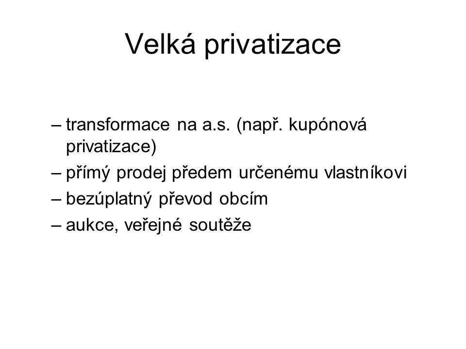 Velká privatizace –transformace na a.s. (např. kupónová privatizace) –přímý prodej předem určenému vlastníkovi –bezúplatný převod obcím –aukce, veřejn