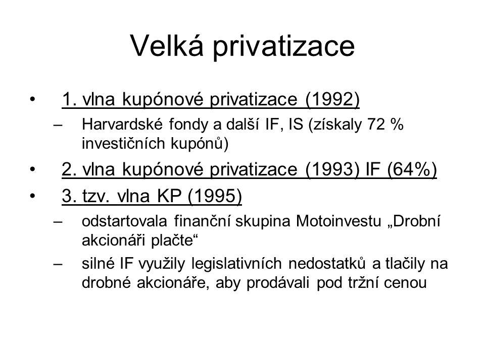 Velká privatizace 1. vlna kupónové privatizace (1992) –Harvardské fondy a další IF, IS (získaly 72 % investičních kupónů) 2. vlna kupónové privatizace