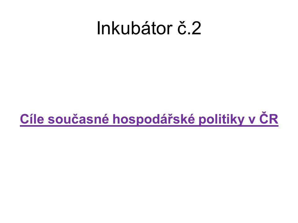 Inkubátor č.2 Cíle současné hospodářské politiky v ČR