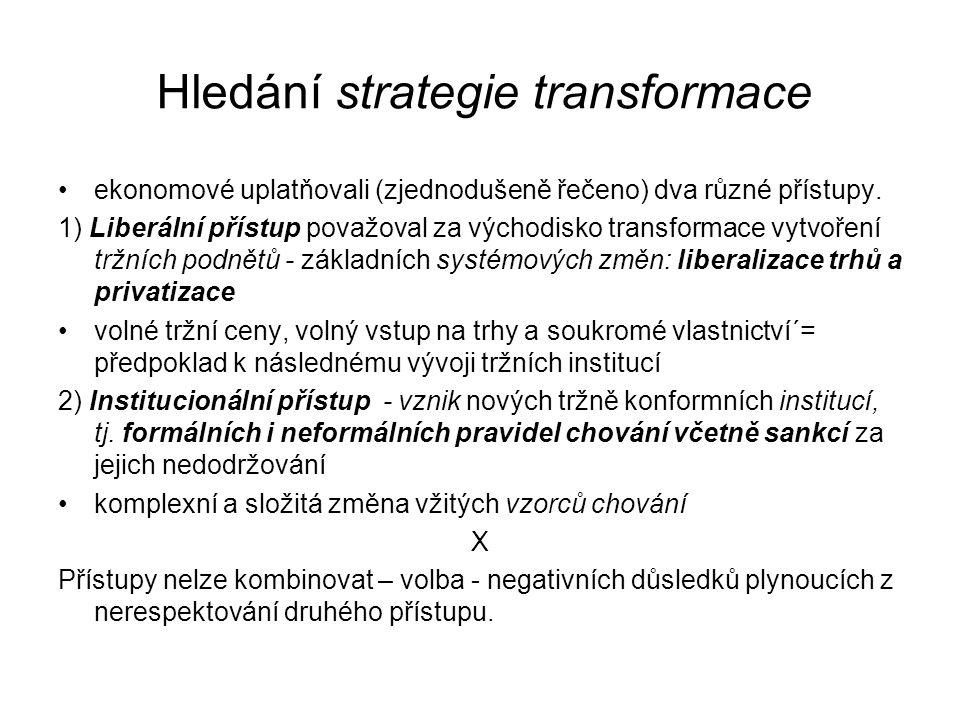 Hledání strategie transformace ekonomové uplatňovali (zjednodušeně řečeno) dva různé přístupy. 1) Liberální přístup považoval za východisko transforma