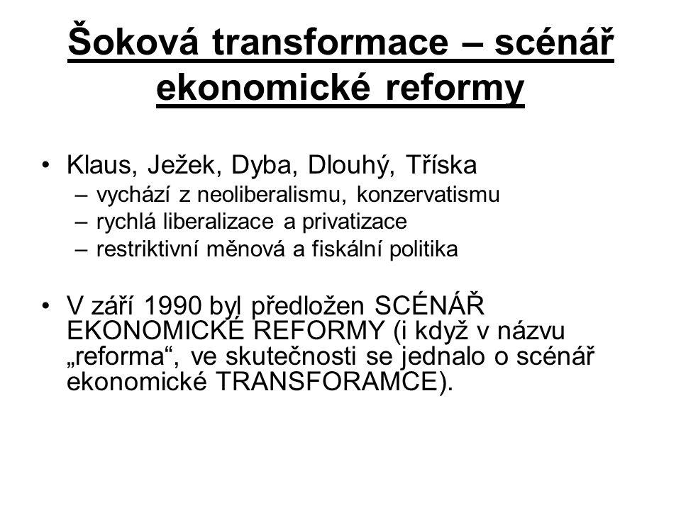 """Šoková transformace – scénář ekonomické reformy Klaus, Ježek, Dyba, Dlouhý, Tříska –vychází z neoliberalismu, konzervatismu –rychlá liberalizace a privatizace –restriktivní měnová a fiskální politika V září 1990 byl předložen SCÉNÁŘ EKONOMICKÉ REFORMY (i když v názvu """"reforma , ve skutečnosti se jednalo o scénář ekonomické TRANSFORAMCE)."""