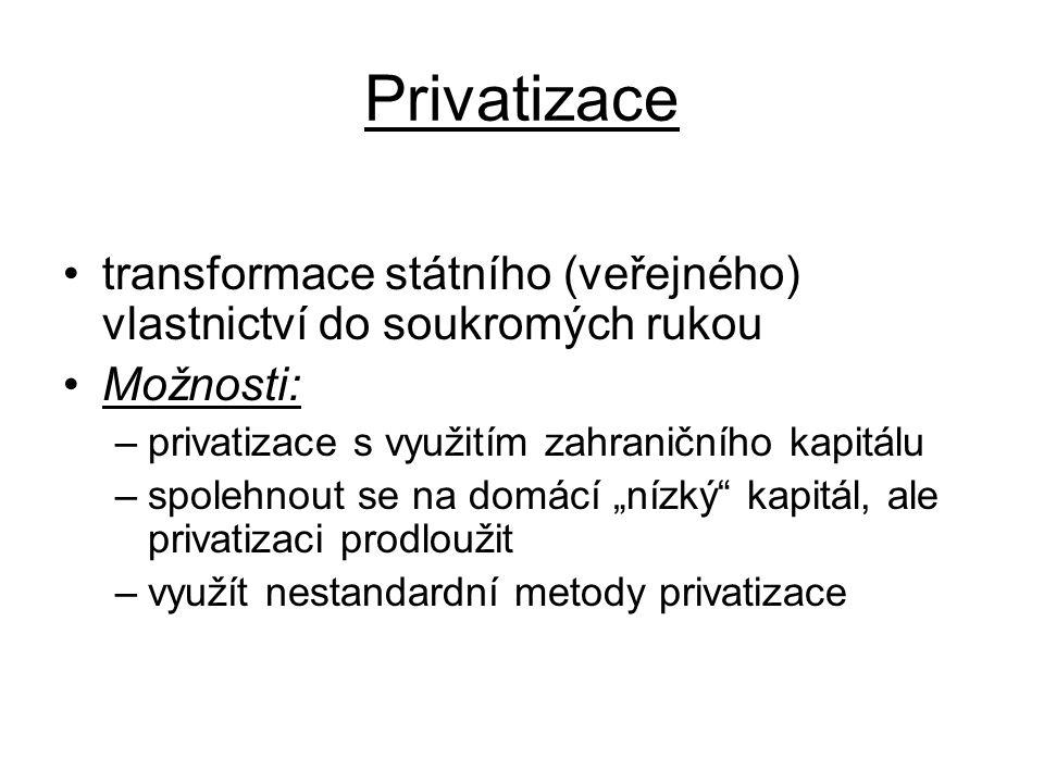 """Privatizace transformace státního (veřejného) vlastnictví do soukromých rukou Možnosti: –privatizace s využitím zahraničního kapitálu –spolehnout se na domácí """"nízký kapitál, ale privatizaci prodloužit –využít nestandardní metody privatizace"""