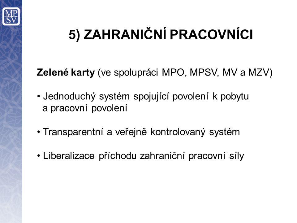 5) ZAHRANIČNÍ PRACOVNÍCI Zelené karty (ve spolupráci MPO, MPSV, MV a MZV) Jednoduchý systém spojující povolení k pobytu a pracovní povolení Transparentní a veřejně kontrolovaný systém Liberalizace příchodu zahraniční pracovní síly