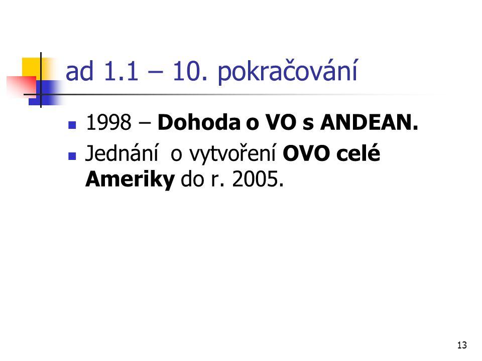 13 ad 1.1 – 10. pokračování 1998 – Dohoda o VO s ANDEAN.