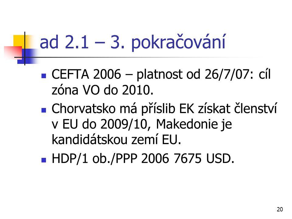 20 ad 2.1 – 3. pokračování CEFTA 2006 – platnost od 26/7/07: cíl zóna VO do 2010.