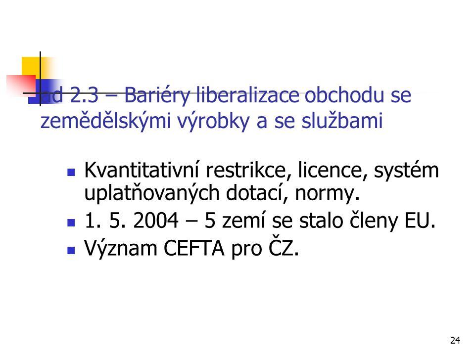 24 ad 2.3 – Bariéry liberalizace obchodu se zemědělskými výrobky a se službami Kvantitativní restrikce, licence, systém uplatňovaných dotací, normy.