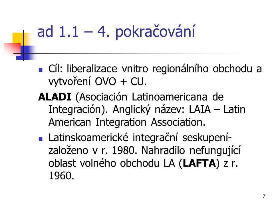 7 ad 1.1 – 4. pokračování Cíl: liberalizace vnitro regionálního obchodu a vytvoření OVO + CU.
