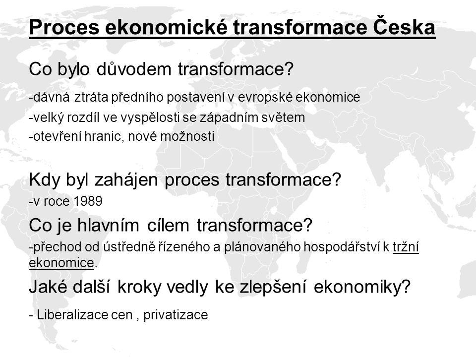 Proces ekonomické transformace Česka Co bylo důvodem transformace.