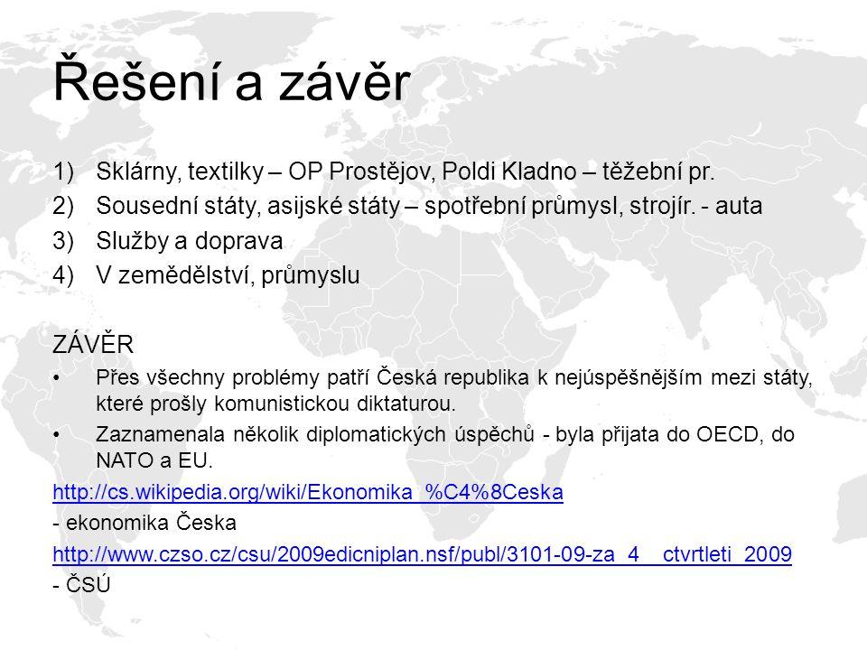 Řešení a závěr 1)Sklárny, textilky – OP Prostějov, Poldi Kladno – těžební pr.