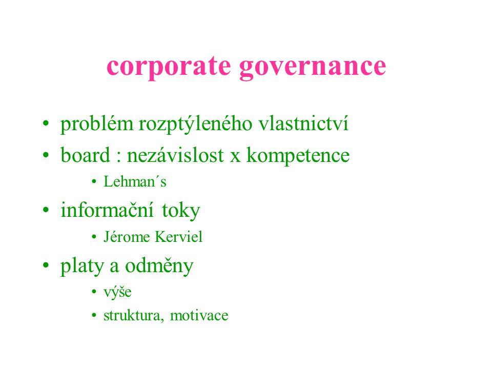 corporate governance problém rozptýleného vlastnictví board : nezávislost x kompetence Lehman´s informační toky Jérome Kerviel platy a odměny výše struktura, motivace