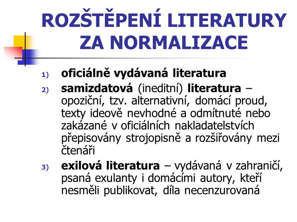ROZŠTĚPENÍ LITERATURY ZA NORMALIZACE 1) oficiálně vydávaná literatura 2) samizdatová (ineditní) literatura – opoziční, tzv. alternativní, domácí proud