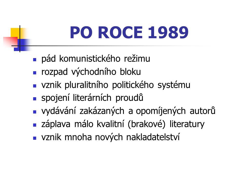 PO ROCE 1989 pád komunistického režimu rozpad východního bloku vznik pluralitního politického systému spojení literárních proudů vydávání zakázaných a