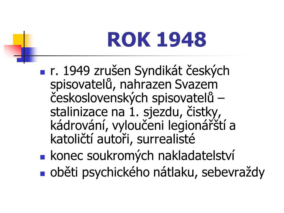 r. 1949 zrušen Syndikát českých spisovatelů, nahrazen Svazem československých spisovatelů – stalinizace na 1. sjezdu, čistky, kádrování, vyloučeni leg