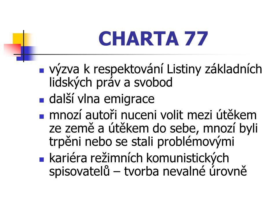ROZŠTĚPENÍ LITERATURY ZA NORMALIZACE 1) oficiálně vydávaná literatura 2) samizdatová (ineditní) literatura – opoziční, tzv.