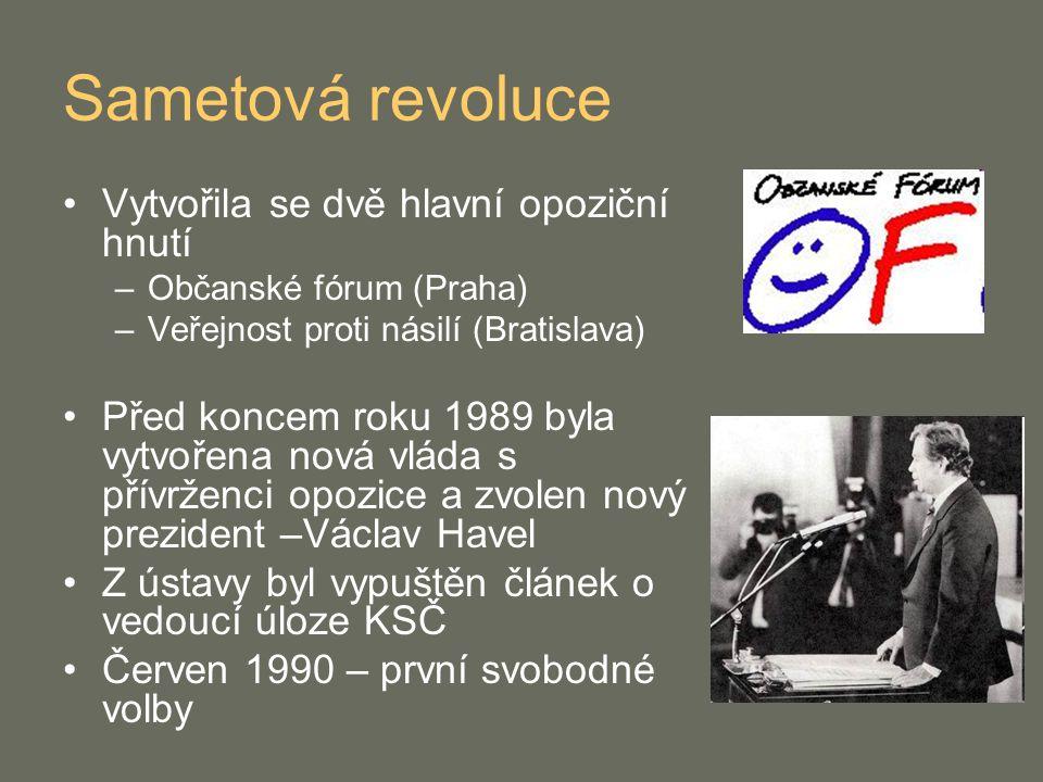 Sametová revoluce Vytvořila se dvě hlavní opoziční hnutí –Občanské fórum (Praha) –Veřejnost proti násilí (Bratislava) Před koncem roku 1989 byla vytvo