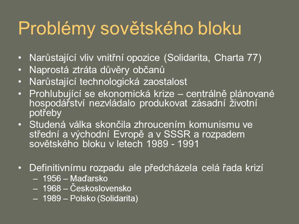 Problémy sovětského bloku Narůstající vliv vnitřní opozice (Solidarita, Charta 77) Naprostá ztráta důvěry občanů Narůstající technologická zaostalost