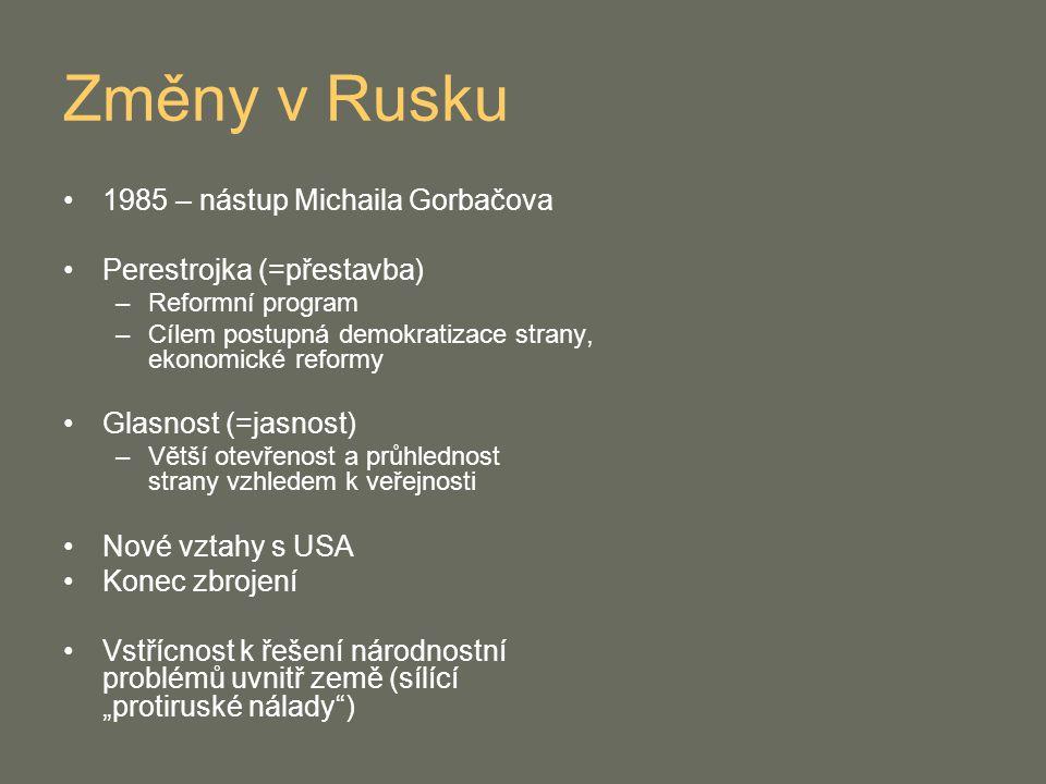 Změny v Rusku 1985 – nástup Michaila Gorbačova Perestrojka (=přestavba) –Reformní program –Cílem postupná demokratizace strany, ekonomické reformy Gla