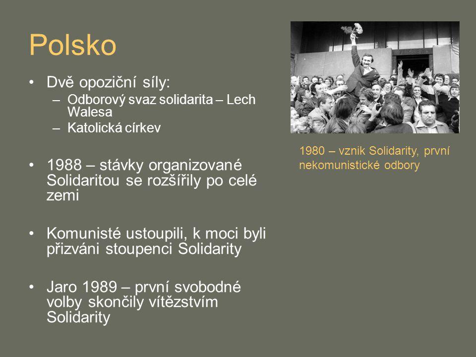 Polsko Dvě opoziční síly: –Odborový svaz solidarita – Lech Walesa –Katolická církev 1988 – stávky organizované Solidaritou se rozšířily po celé zemi K